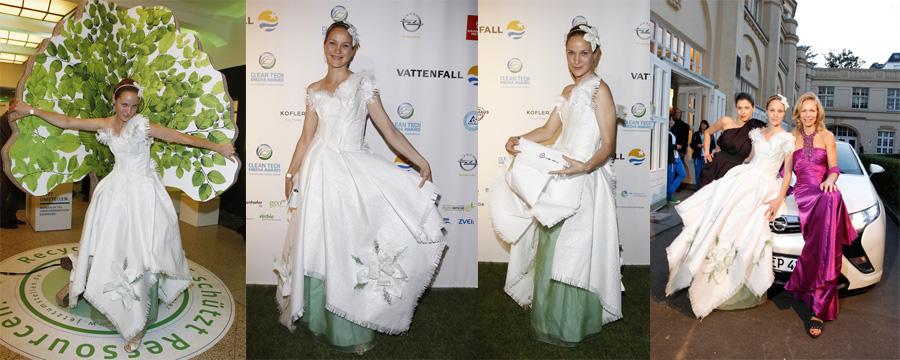 Jeanette Hain in einem Kleid aus Transportsäcken. Andrea Schelling Green Couture